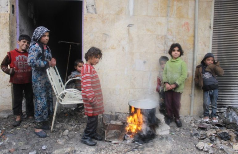 Belagertes Viertel Şêxmeqsûd in Helep