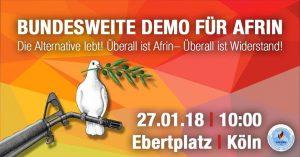 """""""Großdemonstration für Afrin am Samstag: Stadt Köln möchte mit inakzeptablen Auflagen Demonstrationsteilnehmer schikanieren"""