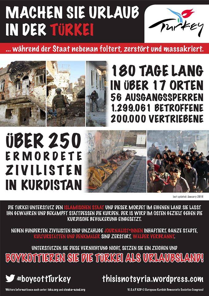 MACHEN SIE URLAUB IN DER TÜRKEI ... während der Staat nebenan foltert, zerstört und massakriert!